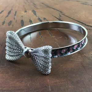 Bangle Bow Bracelet Floral and Silver Tone